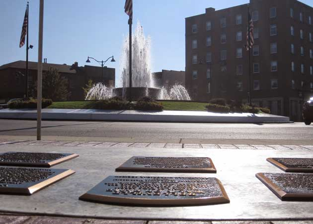 The Walk of Fame occupies a space overlooking the fountain on Belleville's Public Square.