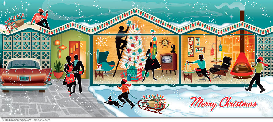 A mid century modern house is being decorated for the Christmas Holidays by a happy family.